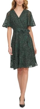 DKNY Printed Flutter-Sleeve Fit & Flare Dress