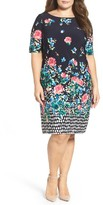 Eliza J Plus Size Women's Floral Stretch Knit Shift Dress