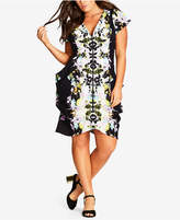 City Chic Trendy Plus Size Printed Zip-Front Dress