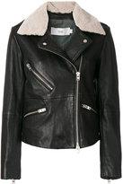 Closed faux sheepskin collar jacket