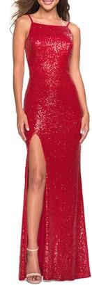 La Femme Low Back Sparkle Gown