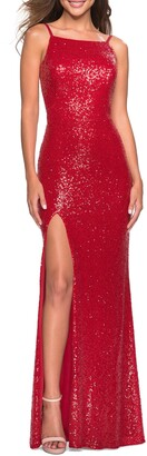 La Femme Low Back Sparkle Column Gown
