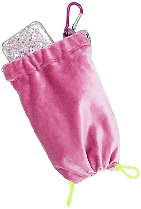 Charli Small Pink Clip On Velvet Micro Clutch - purse / phone case