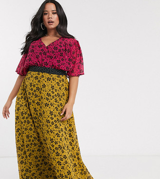 Twisted Wunder Plus chiffon midaxi dress in mix and match floral print