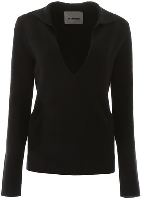 Jil Sander V Neck Knitted Sweatshirt