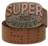 New Mens Superdry Brown Dry Riders Leather Belt Belts