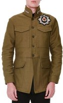 Alexander McQueen Cotton Beaded Embroidery Jacket, Military Green