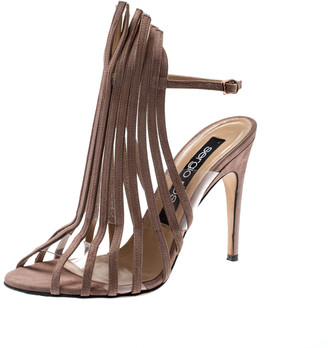 Sergio Rossi Beige Suede Leather Fringe Slingback Sandals Size 38
