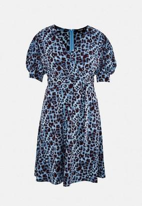 Missguided Plus Size Blue Leopard Print Puff Sleeve Wrap Midi Dress
