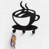 Spectrum Black Steel Coffee Time Wall Mounted 3 Hook Key Rack