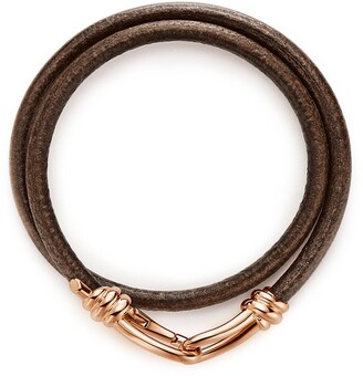 Tiffany & Co. Paloma Picasso Knot double wrap bracelet in 18k rose gold and leather, large