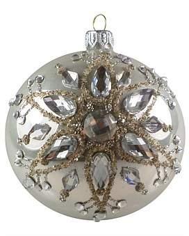 clear Christmas Shop Orn-Bauble W/Silver Bead Flower 10Cm