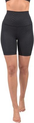 "90 Degree By Reflex Embossed Elastic Free Super Hi Rise Basic 7"" Biker Shorts"