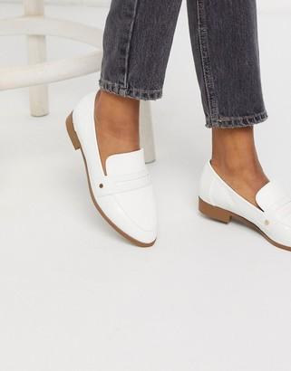 London Rebel flat loafers in white croc