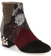 Bettye Muller 'Cyd' Bejeweled Mixed Finish Bootie (Women)