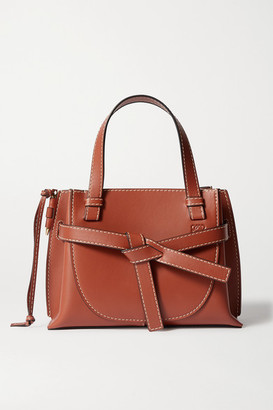 Loewe Gate Mini Topstitched Leather Tote - Brown