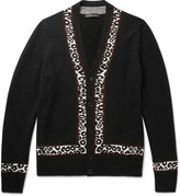 Alexander Mcqueen - Leopard Intarsia Wool, Silk And Cashmere-blend Cardigan