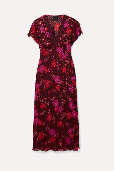 Anna Sui Scattered Flowers Lace-trimmed Silk-blend Jacquard Midi Dress - Burgundy