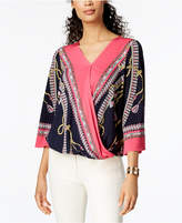 JM Collection Printed Bubble-Hem Blouse, Created for Macy's