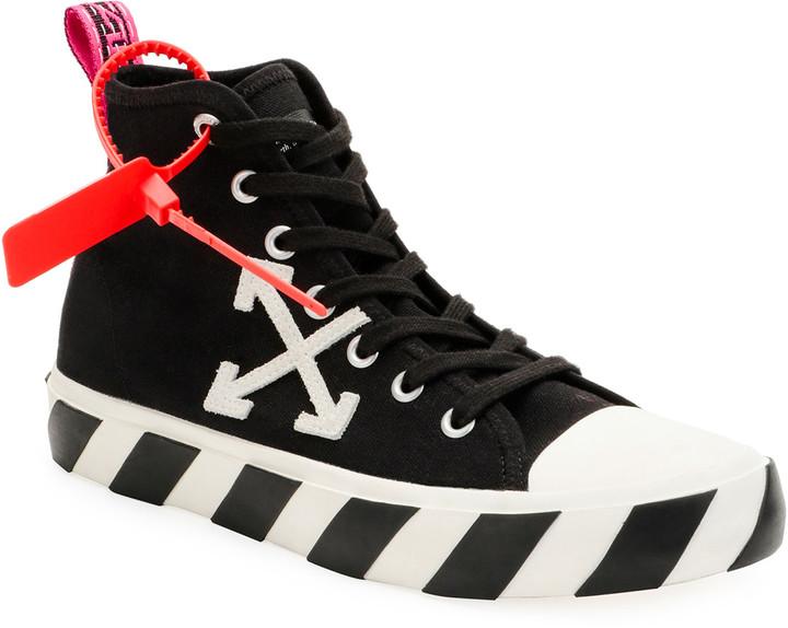 Mens Black Canvas Mid Top Sneakers