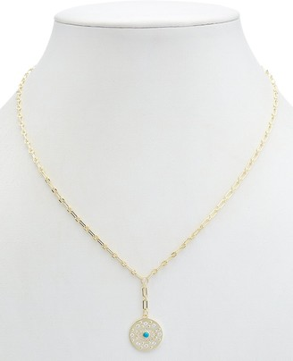 Alanna Bess Limited Collection 14K Over Silver Cz Evil Eye Necklace