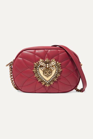 Dolce & Gabbana Devotion Embellished Quilted Leather Shoulder Bag - Red