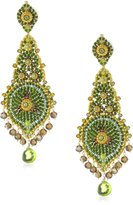 Miguel Ases Long Lotus with Peridot Quartz Drop Earrings