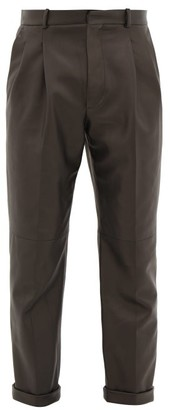 Alexander McQueen Double-pleat Leather Trousers - Black