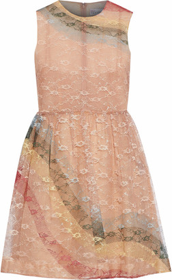 RED Valentino Color-block Silk Lace Mini Dress