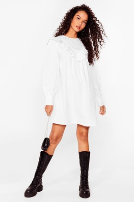 Nasty Gal Womens Our Day Frill Come Broderie Anglaise Mini Dress - White