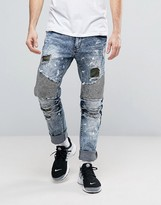 Reason Distressed Slim Jeans With Camo Patches