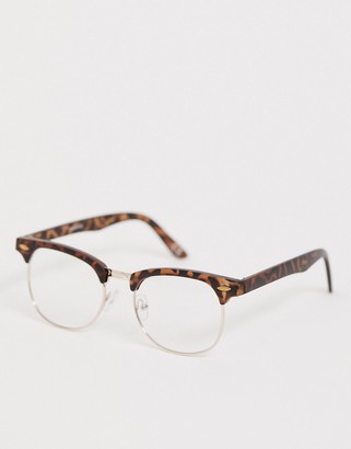 ASOS DESIGN retro fashion glasses in matte tort with clear lenses