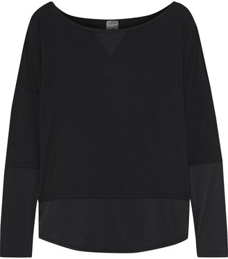 Iris & Ink Sateen-paneled Stretch-jersey Top