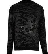 River Island MensBlack metallic camo sweater