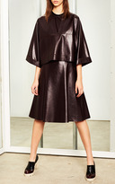 Derek Lam 10 Crosby Aubergine Leather Fit-And-Flare Dress