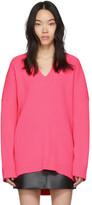 Balenciaga Pink Knit V-Neck Sweater