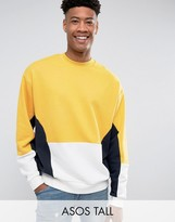 Asos Tall Oversized Cut & Sew Sweatshirt In Yellow