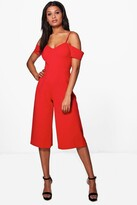boohoo Emma Off The Shoulder Culotte Jumpsuit