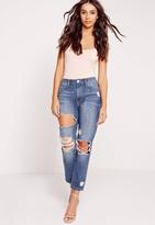 Missguided Petite High Rise Crop Distress Slim Leg Jeans Vintage Blue