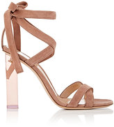 Gianvito Rossi Women's Suede Ankle-Tie Sandals-PINK