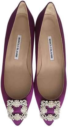 Manolo Blahnik Hangisi Purple Cloth Ballet flats