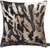 Aviva Stanoff Two Tone Mermaid Sequin Cushion - Matt Taupe/Black - 45x45cm