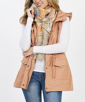 Lydiane Women's Outerwear Vests CAMEL - Camel Hooded Military Pocket Vest - Women