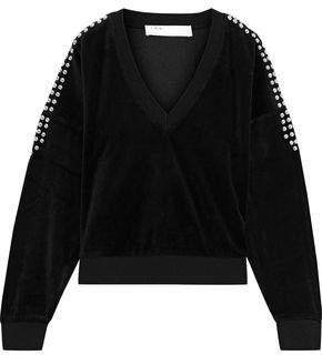 IRO Tapes Studded Cotton-blend Velvet Sweatshirt