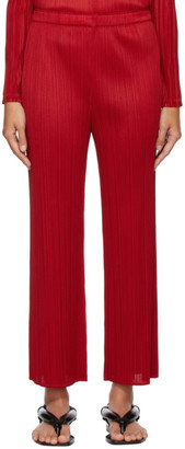 Pleats Please Issey Miyake Red Echo Trousers
