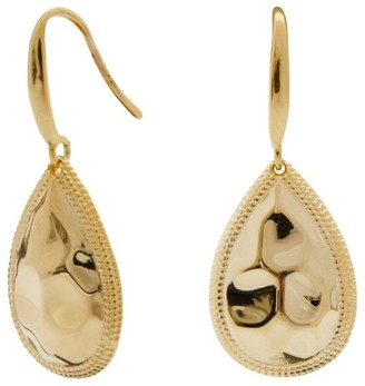 Simply Silver Sterling Silver 925 14ct Yellow Gold Beaded Edge Pear Drop Earrings