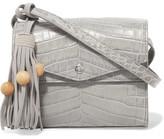 Elizabeth and James Eloise Tasseled Croc-Effect Glossed-Leather Shoulder Bag