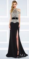 Mac Duggal Regal Beaded High Neck Cold Shoulder Evening Dress
