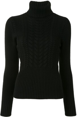 Paule Ka Cable-Knit Roll Neck Jumper