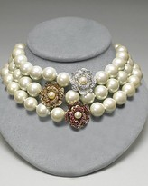 Faux Pearl Necklace with Crystal Flower Accent